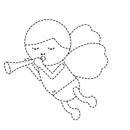 트럼펫 음악 로맨스 벡터 일러스트와 함께 라인 아이콘 큐피드