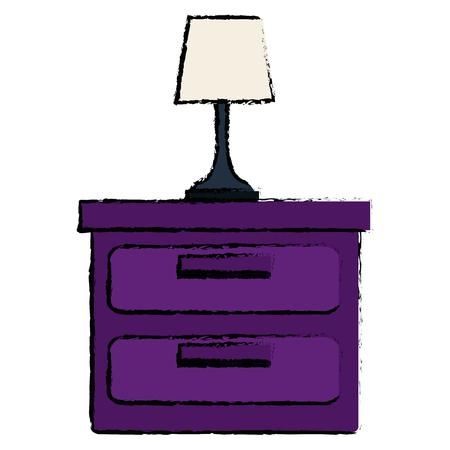 Slaapkamerlamp in ontwerp van de lade het geïsoleerde pictogram vectorillustratie Stock Illustratie