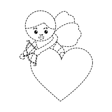 love cupid heart shooting arrow with bow vector illustration Illustration