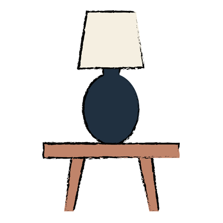 Bedroom lamp on table vector illustration design
