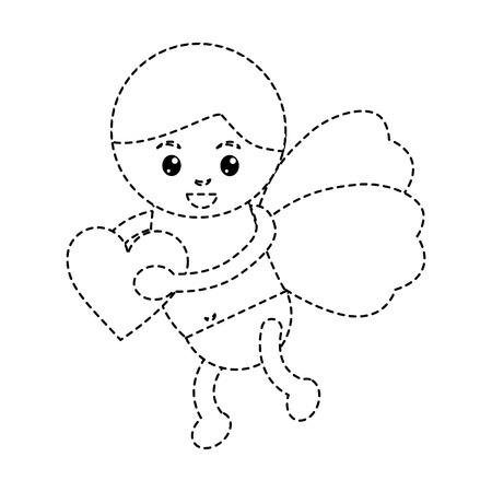 Cupid holding heart vector illustration