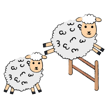 Cute sheep jumping over a fence character icon vector illustration design