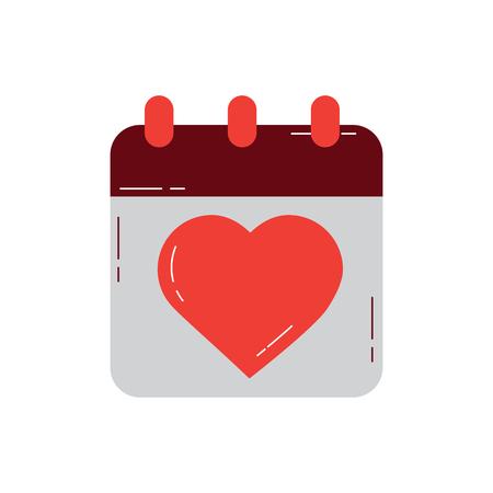 valentines day calebration calendar romantic date vector illustration Illustration