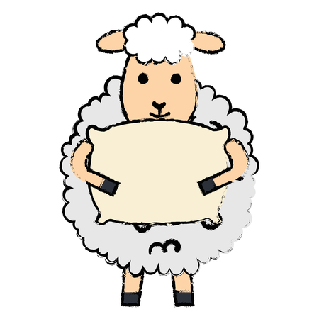 cute sheep with pillow character icon vector illustration design