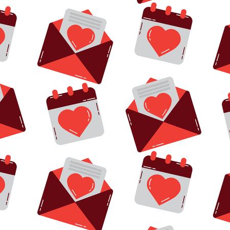 Valentinstag Kalender Nachricht nahtlose Muster Vektor-Illustration Standard-Bild - 91441053