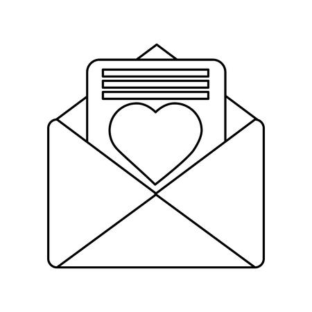 Valentines day message heart love envelope open vector illustration Illustration