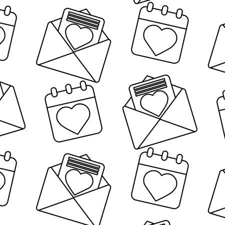 Valentines day calendar message seamless pattern illustration.