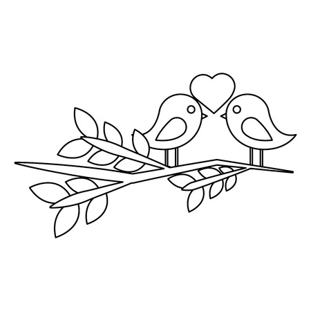 two cute birds with heart on leafy branch card for valentine day vector illustration