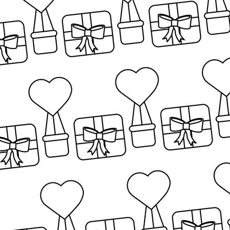 valentines day gift box air balloon heart pattern vector illustration Stock Vector - 91446125