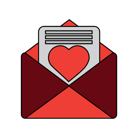 valentines day message heart love envelope open vector illustration