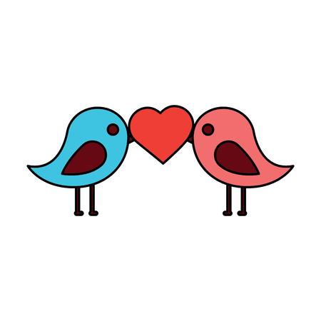 Zwei Lustige Vogel Farbillustration Lizenzfrei Nutzbare