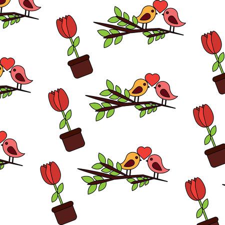 Valentijnsdag vogel tak en ingemaakte bloem decoratie patroon vector illustratie Stock Illustratie