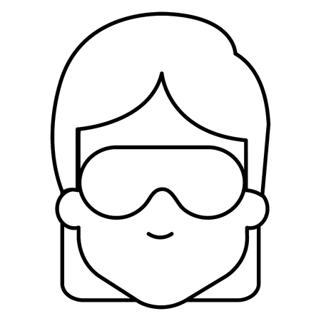 woman with sleeping mask vector illustration design  イラスト・ベクター素材