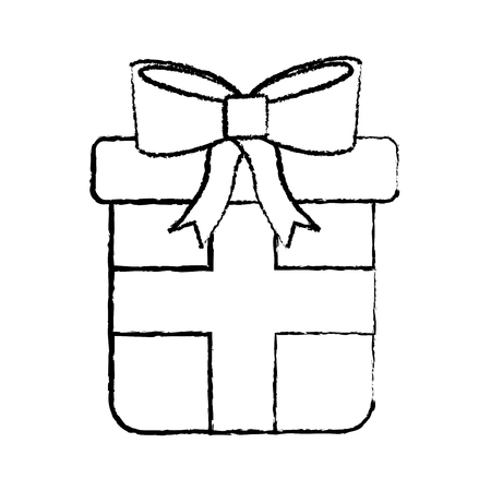 wrapped gift box ribbon and bow decoration vector illustration