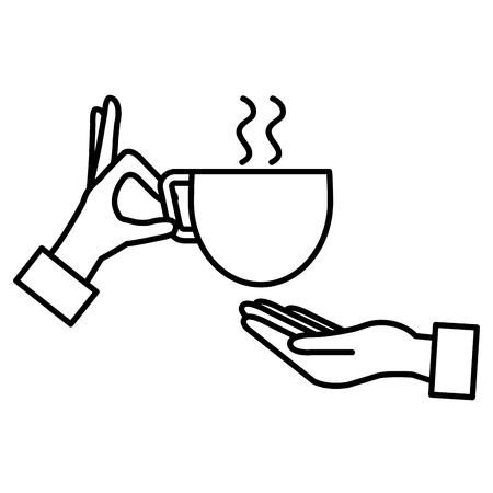 コーヒーカップ分離アイコンベクトルイラストデザインの手  イラスト・ベクター素材