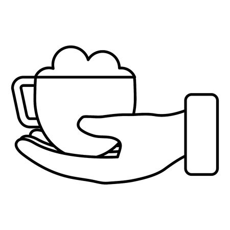 A hand with coffee cup isolated icon vector illustration design Иллюстрация