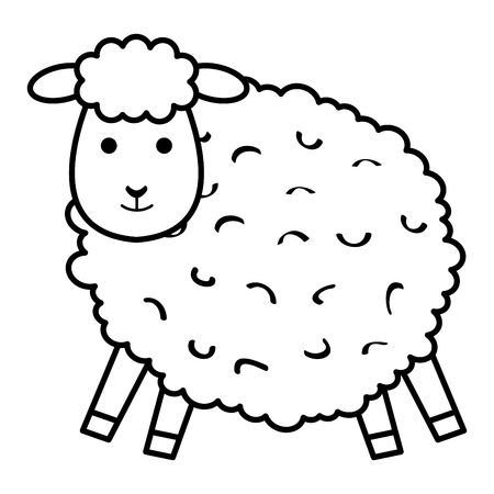 A cute sheep character icon vector illustration design Stock Illustratie