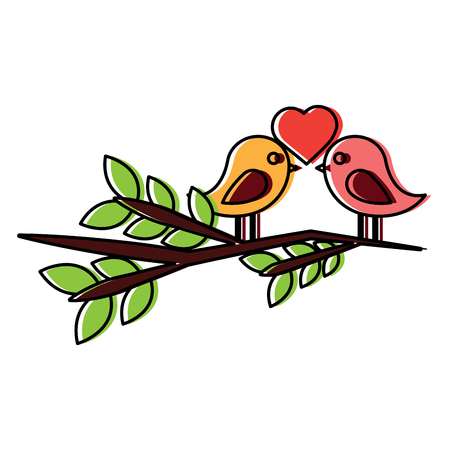two cute birds with heart on leafy branch card for valentine day vector illustration Stock fotó - 91447854