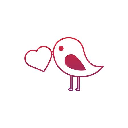 valentines day bird with heart in beak lovely vector illustration