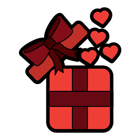 open gift box coming out of heart vector illustration