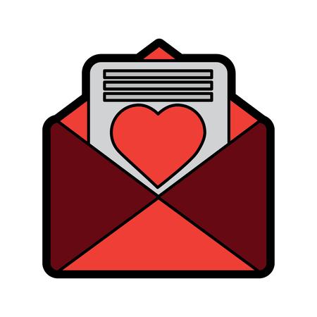 valentines day message heart love envelope open vector illustration