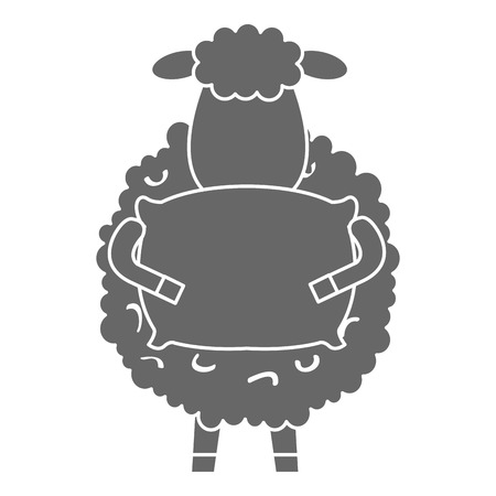 Sheep with pillow character icon. Illustration