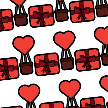 Valentines day gift box air balloon heart pattern. Illustration