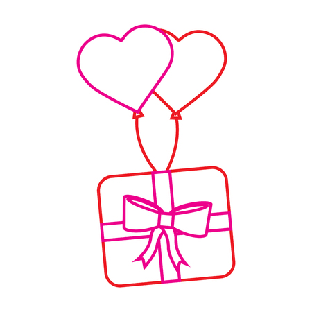 wrapped gift box flying with balloons heart romantic vector illustration Illustration