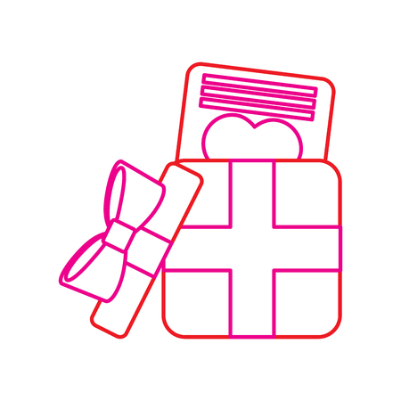 Opened Gift box with love letter. valentines day celebration vector illustration