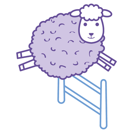 Sheep jumping on a fence character icon.