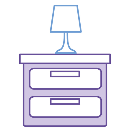 Bedroom lamp in drawer isolated icon.