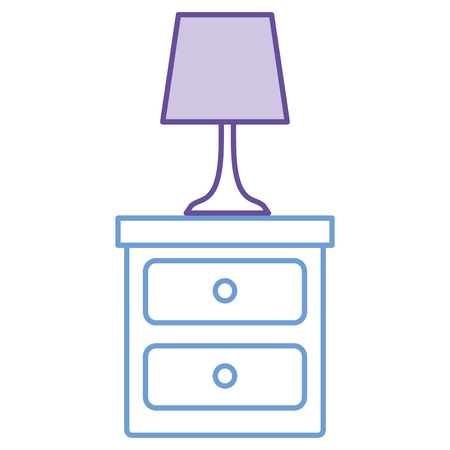 Bedroom lamp in drawer isolated icon illustration.
