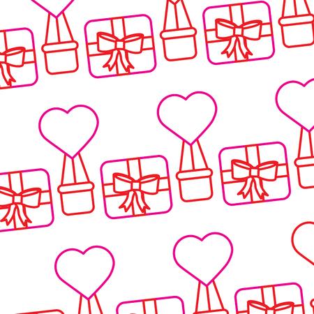 valentines day gift box air balloon heart pattern vector illustration Illustration