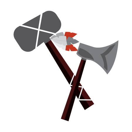 ax and tomahawk native american indian weapon vector illustration 일러스트