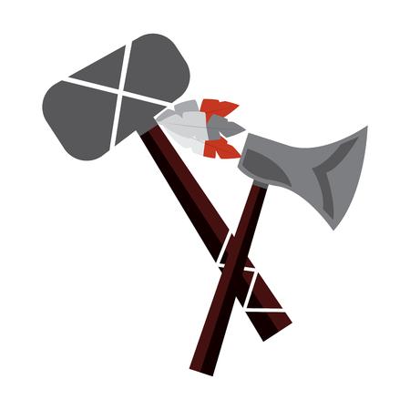 Hacha y tomahawk ilustración de vector de arma indio nativo americano Foto de archivo - 91451666
