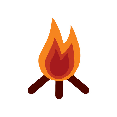 Bonfire flame hot wooden warm icon vector illustration