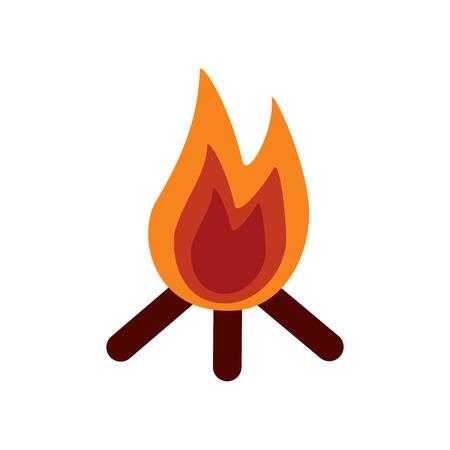Vuur vlam warme houten warme pictogram vectorillustratie