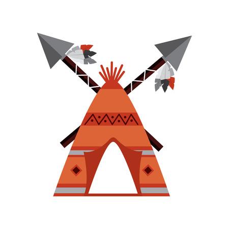 Inheems Amerikaans Indisch tipihuis met gekruiste spearsillustratie.