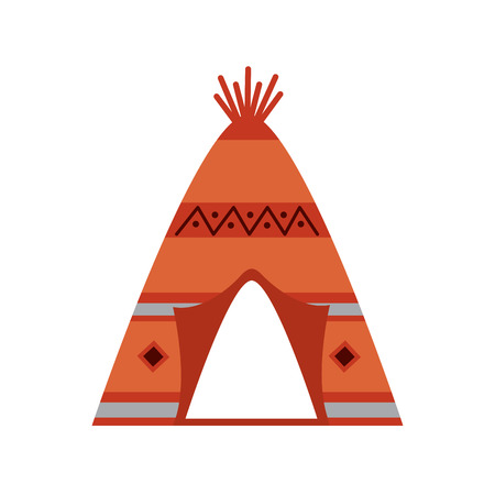 クロス槍のイラストを持つネイティブアメリカンインディアンティーピーホーム。  イラスト・ベクター素材