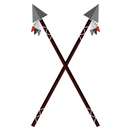 Crossed two spear native american indian weapon illustration. Illustration