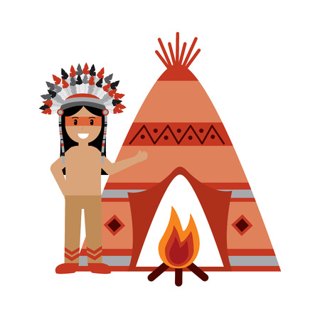 native american indian man with teepee and bonfire Ilustração