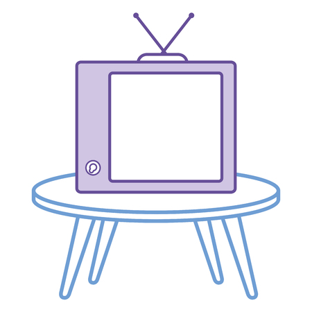 table with old tv isolated icon vector illustration design Ilustrace