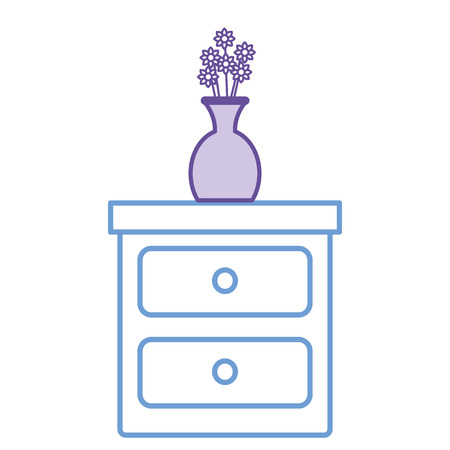 bedroom drawer with flower vase vector illustration design Illustration