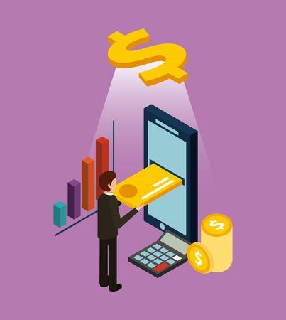 Geschäftsmann, der Kreditkarte auf digitale isometrische Vektorillustration des beweglichen E-Commerce einfügt