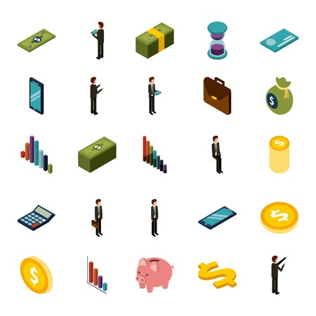 money isometric set of icons business vector illustration