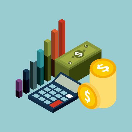 Calculadora de monedas de billetes de banco de concepto isométrico dinero e ilustración de vector de gráfico financiero