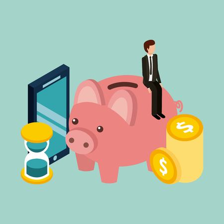 businessman piggybank time mobile coins money isometric vector illustration