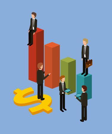 棒に立つ異なるビジネスマンは、彼らの財務状況のアイソメトリックベクトル図をチャート化