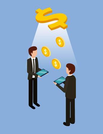 businessmen holding tablet transaction dollar money vector illustration Illustration