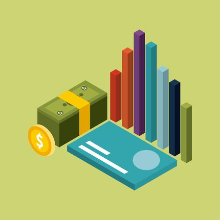 money isometric stacked banknote coin card and graph vector illustration Illustration
